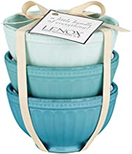 Lenox French Perle Groove Bowls (Set of 3), Mini, Blues