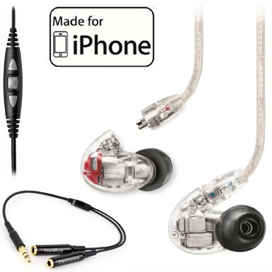 Shure SE846 Quad Driver Earphones w/ Y Cable & Music Phone Cable Cbl-m+-k for Iphone