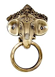 Two Moustaches Brass Ganesha Mask Door Knocker