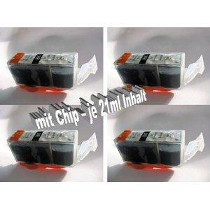 Toner & Tinten Fuchs® 4 Kompatible Druckerpatronen für Canon Pixma MP 540 - Schwarz- MIT CHIP Tintenpatronen