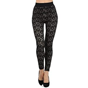 [The Classic Brand] Full Length Laced High Waist Leggings Taupe Small