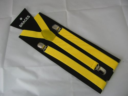 Pair Narrow Fashion Braces [suspenders] in Yellow 2cm wide, Adjustable with metal adjusters and snap fasteners.