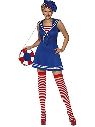 Smiffys Women's Blue/Red/White Sailor Cutie Costume -US Dress 10-12