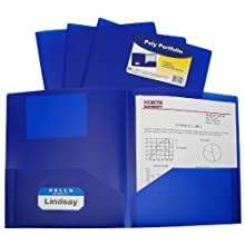 C-Line Two-Pocket Heavyweight Poly Portfolio, For Letter Size Papers, Includes Business Card Slot, 1 Case of 25 Portfolios, Blue (33955)