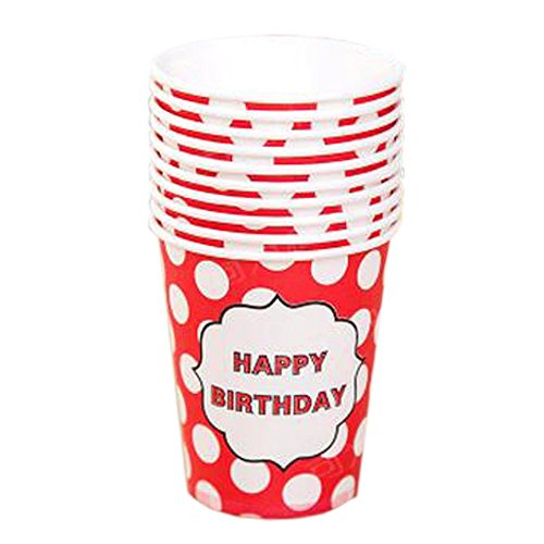 White Dots Pattern 40 Counts Water Paper Cup Disposable Cup For Office/Home, Red