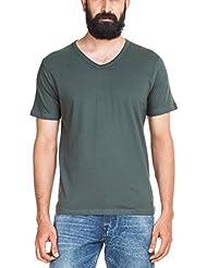 Zovi Men's Cotton Solid Green V-neck T-shirt (10501300401)