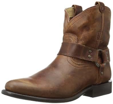 FRYE Women's Wyatt Harness Short Ankle Boot, Cognac Antique Pull-Up, 5.5 M US