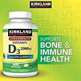Kirkland Signature Extra Strength Vitamin D3 2000 I.U. 600 Softgels,  Bottle