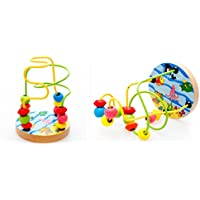 Joyeee® Multicolor Wooden Bead Roller Coaster #3 - Ocean Life Pattern - Compact Size Early Education Beads Maze...