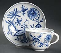 """Meissen (Germany) Blue Onion (""""X"""" Backstamp) Flat Cup & Saucer Set, Fine China Dinnerware by Meissen (Germany)"""