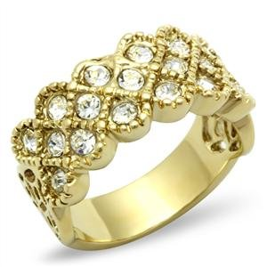 RIGHT HAND RING - Cluster Ring with Round Cut Clear Top Grade Crystal in Gold Tone