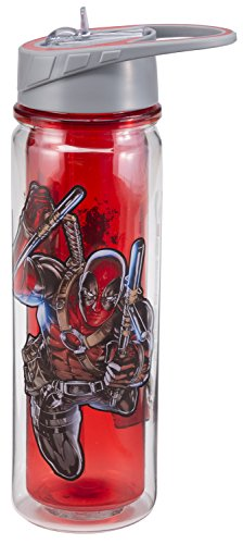 VANDOr 26175 Marvel Deadpool Tritan Water Bottle with Flip-Top Lid, 18-Ounce, Multicolored
