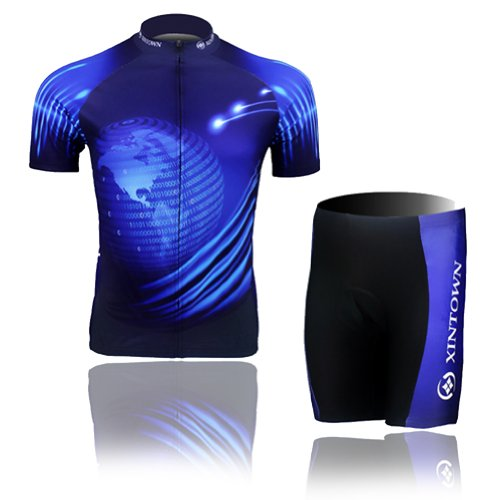 Baleaf Mens Short Sleeve Cycling Jersey Blue Earth Style L