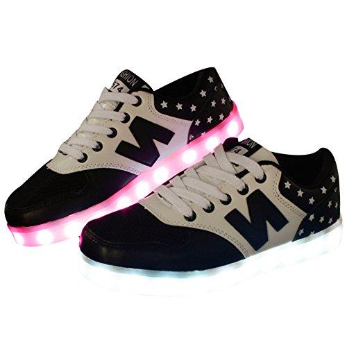 Teckey-USB-de-car-ga-de-7-colores-de-luz-LED-unisex-zapatilla-de-deporte-del-zapato-por-la-fiesta-de-baile-de-Navidad-de-San-ValentnTalla35-44