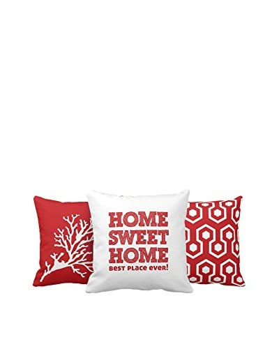 Thuis Mania Washable Pillow Set van 3 rood / wit