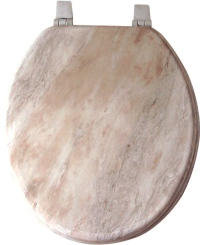 OFF WHITE MARBLEIZED LOOK MOLDED WOOD STANDARD ROUND TOILET SEAT Discou
