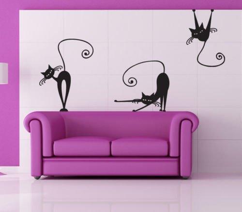 Adesivo murale gatti 2 misure 50x70 cm decorazione for Decorazioni muro