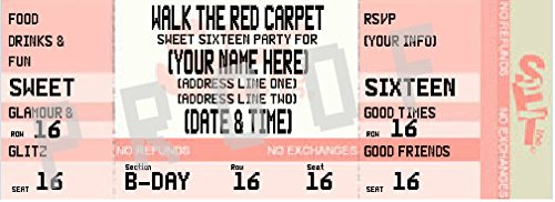 Sweet 16 Ticket Style Graduation Invitation (Pink) (Sweet Ticket compare prices)