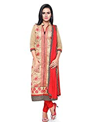 Kanchnar Women's Beige and Red Chanderi Cotton Embroidered Casual Wear Dress Material,Navratri Festival Clothing Diwali Gift,Great Indian Sale