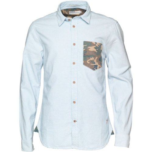 Hellblau/Grün Camoflage Voi Jeans Herren Camo Pigment Dyed Oxford Camo Hemd Oxford - L To Fit Chest 38-40 Euro Large