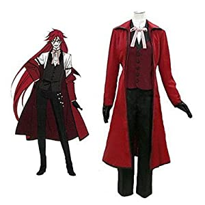 Leadcos Black Butler Grell Sutcliff Red cloak Cosplay Costume Size L
