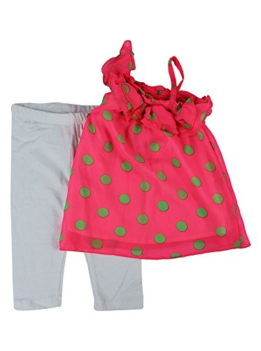Alfa Global Baby Girl'S Infant White Legging Pants Set With Neon Color Polka Dot Print Chiffont Top 4T Pink front-1078099