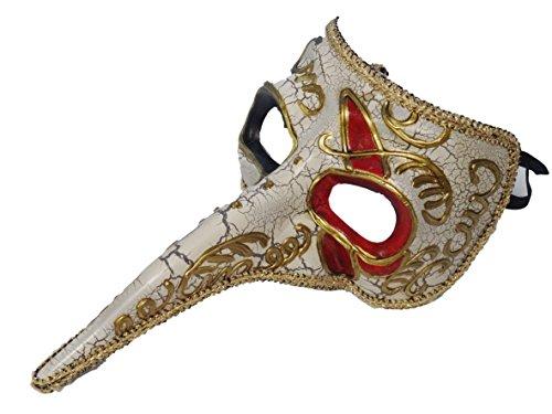 華麗なロングノーズ ベネチアンマスク 今日から貴族の仲間入り ハロウィン クリスマス パーティー 仮面 マスク 舞踏会 全4色 (ロングノーズ, 白)