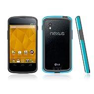 Poetic Borderline Bumper Case For Nexus 4 Smart Phone E960 LG Blue/Gray (3 Year Warranty From Poetic)