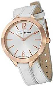 """Stuhrling Original Womens 568.03 Soiree """"Deauville Sport"""" 16k Rose Gold-Plated Stainless Steel and White Leather Wrap Watch"""