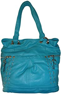 Women's B Makowsky Leather Purse Handbag Salerno Tote Aruba Blue