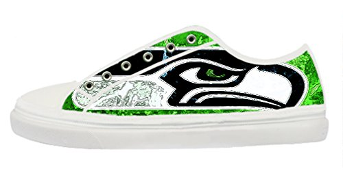 Renben NFL Seattle Seahawks Lady's Canvas Shoes Lace-up Low-top Sneakers Confortable Sports Shoes