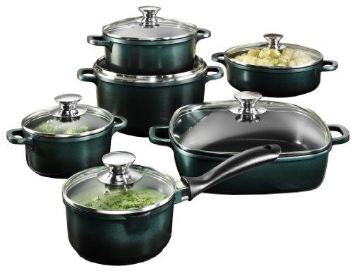 Karcher BiColor 113287 12-Piece High-Quality Cast-Aluminium Cookware Set with Rectangular Frying Pan, Green