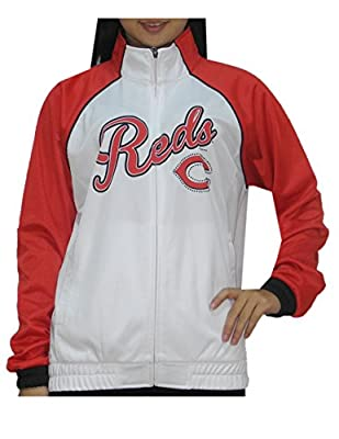 MLB CINCINNATI REDS Womens Zip-Up Warm Glitter Track Jacket