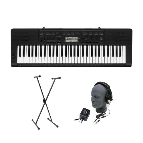 Casio CTK-3200 61-Key Premium Portable Keyboard Package with Headphones, Stand and Power Supply