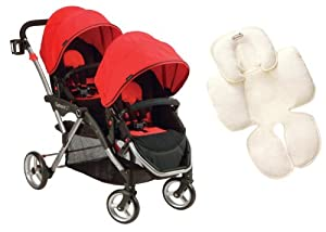 Kolcraft Contours Crimson Red Options LT Tandem Stroller with Summer Infant Snuzzler