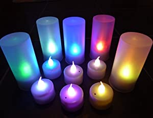 Set Of 20 Led Colour Changing Battery Tea Candle Lights With Holders ** Ideal For Weddings, Homes, Mood Lighting, Etc ** by LEDER