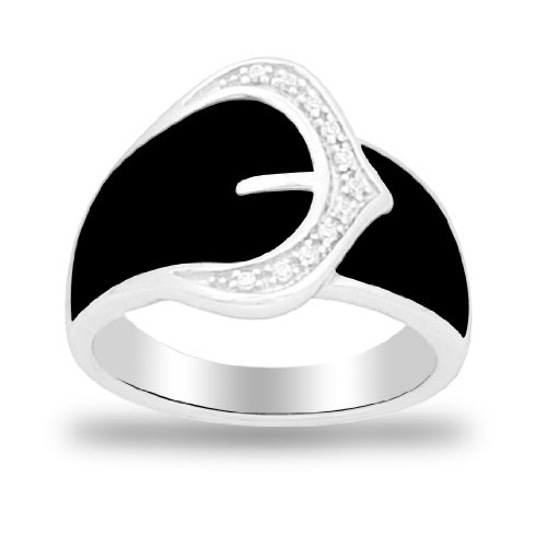 Women's Sterling Silver Fashion Black Enamel Ring (0.05 Cttw I-J Color, I2 Clarity), Size 7