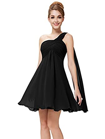Ever Pretty Womens One Shoulder Ruched Empire Waist Bridesmaids Dress 4 US Black