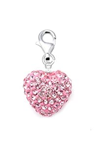 Authentic Pink Sapphire Color Charm Heart Shape Crystals. Now At Our Lowest Price Ever but Only for a Limited Time!(chain Not Included)
