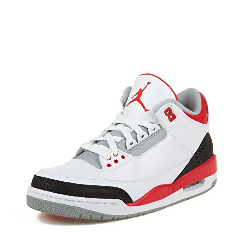 NIKE Men's AIR JORDAN 3 RETRO WHITE/FIRE RED-SILVER-BLACK 136064-120 ((Men's): US 9) (Jordan 2013 Shoes compare prices)