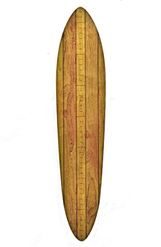 Vintage Surfboard Wooden Height Chart for Kids | Honey Maple Stripe w/Inches