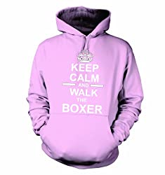 Keep Calm And Walk The Boxer Hooded Sweatshirt Hoody In Light Pink