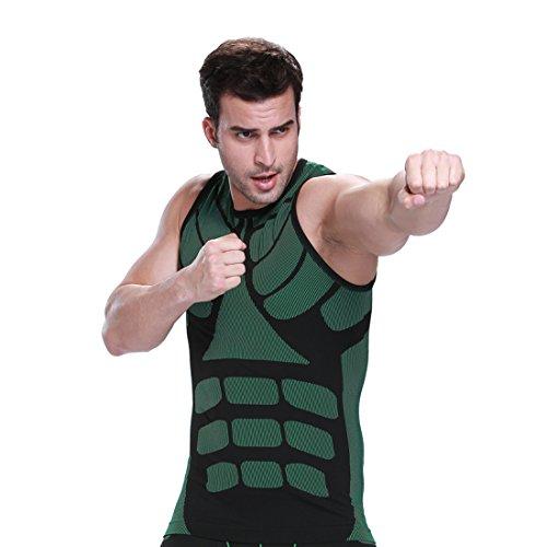ZEROBODYS Mens Outdoor asciugatura rapida Gilet Vest Sport Esecuzione Abbigliamento SS-M08 (verde, XL)