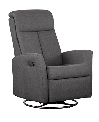 Shermag Swivel Glider With Push Button Recline Grey Fabric Furniture Ottoman