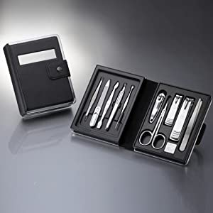 World No. 1, Three Seven 777 Travel Manicure Pedicure Grooming Kit Set - Nail Clipper (Total 10 Pcs, Model: TS-0880BC), Lifetime Warranty - Made in Korea, Since 1975.