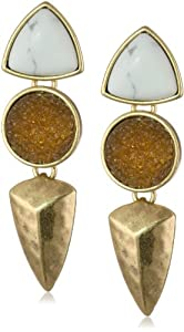 """Lucky Brand """"Adorn You"""" Topaz Set Stone Post Drop Earrings"""
