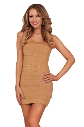 Women's Casual Party Ponte Knitted Slimming Strapless Sleeveless Mini Dress