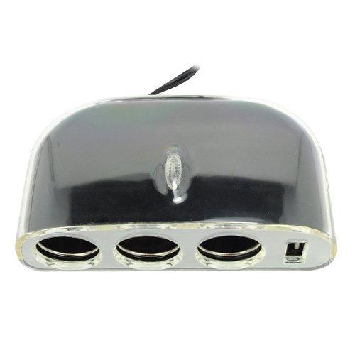 Best Plus 3-Socket Car Cigarette Lighter Socket Splitter Charger With Usb Port - Black front-596840