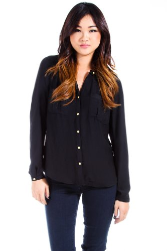 Shaish Light Longsleeve Button Down Blouse in Black