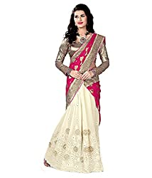 coolwomen women's georgette embroidered free size fancy saree-cw_NMN2A112rani_pink_free size